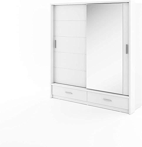 Con armadio a specchio con ante barre pensili e mensole camera da letto armadio soggiorno scorrevoli di design moderno,White-200/215/63