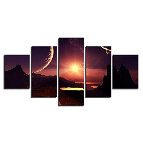 SDJYH Modulare Leinwandbilder Wohnkultur Wohnzimmer Rahmen 5 Stücke Sonnenuntergang Glow Moon Berglandschaft Gemälde Wandkunst Poster