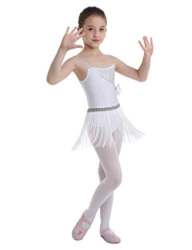 inhzoy Vestido de Baile Latino Flecos para Nia Maillot Tirantes de Ballet Clsico Lentejuelas Vestido de Danza Tango Samba Rumba Disfraz Bailarina Blanco 8Aos