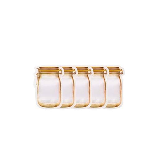 Rellenable Mason Jar dulces Bolsas Botellas Tuercas Snacks Galletas de sellado bolsa de almacenamiento de alimentos frescos bolsa sellada cremallera organizador de la cocina ( Colore : 5pcs )