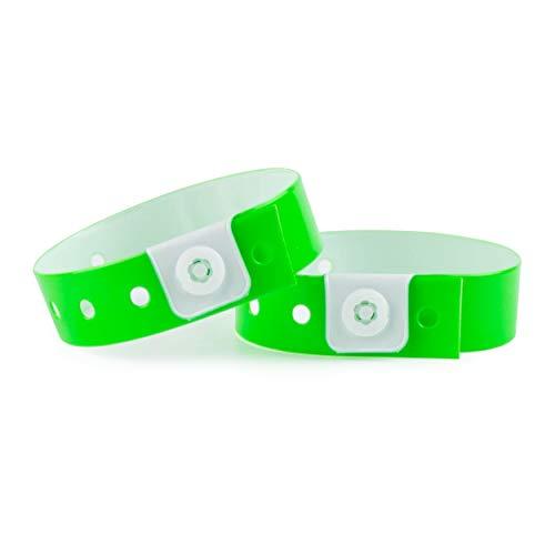 Set de 100 pulseras de plástico/vinilo para eventos, personalizables e impermeables (verde neón)