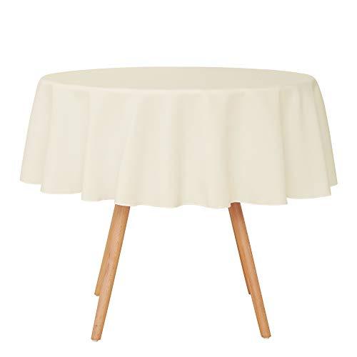 Umi.Essentials Tischdecke Wasserabweisend Tischwäsche Lotuseffekt Tischtuch 140 cm Creme