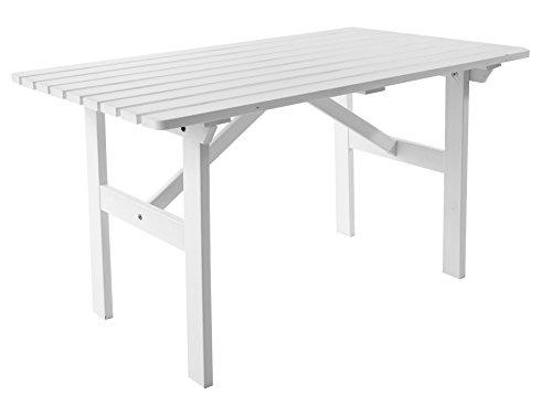 Ambientehome tuintafel tafel massief hout eettafel HANKO ca. 120 x 70 x 69 cm wit