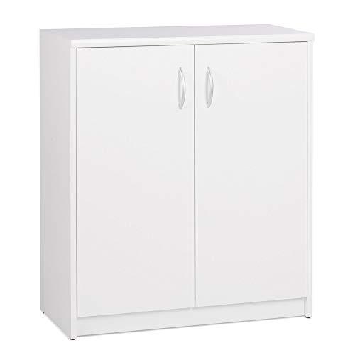Newfurn Sideboard Kommode Modern Anrichte Highboard Mehrzweckschrank II 74x85x 35 cm (BxHxT) II [Taylor.Sixteen] in weiß/Weiß Wohnzimmer Schlafzimmer Esszimmer