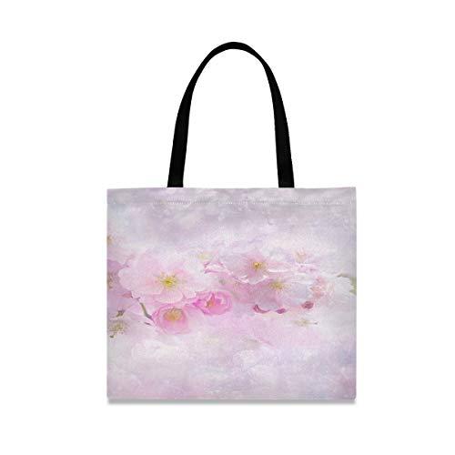 Große quadratische Kapazität Handtaschen Umhängetaschen Kirschblüte Kirschbaum Natur Blume Pflanze Tasche Leinwand 19,7 X 16,9 Zoll Druck für Mädchen Damen Einkaufen tägliche Arbeit