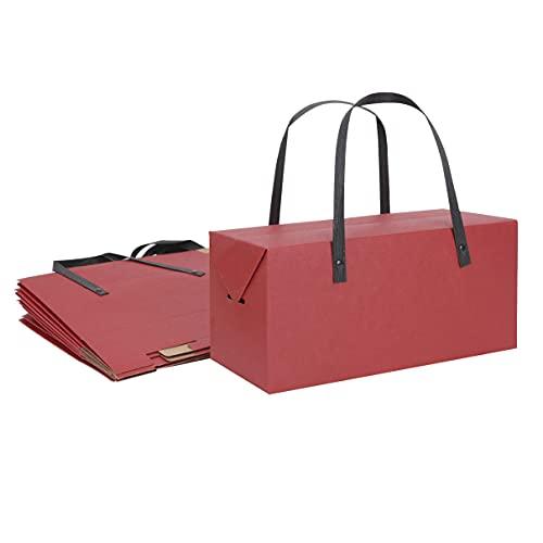 YJZQ 10 Stück Papiertüten Geschenkbox mit Griff Geschenktüten Papiertragetaschen Kraftpapier Geschenktasche Papierbox für Geschenke Papiertaschen Kraftpapiertüten für Partys Geburtstag Mitgebsel