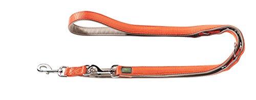HUNTER Sevilla Verstellbare Führleine für Hunde, Nylon, Kunstleder unterlegt, 2,0 x 200 cm, orange/taupe