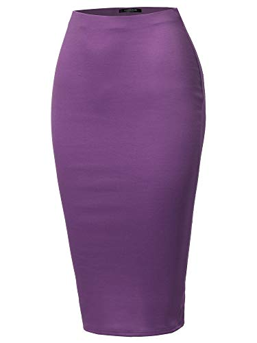 SSOULM Women's Work Office Stretchy Fitted Midi Pencil Skirt with Back Slit and Plus SizePLUM 2X