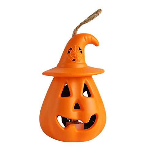 Saingace(TM) Halloween Kürbis Deko Licht, LED Horror Pumpkin Lichter, Batteriebetrieben 3D Kürbis Beleuchtung Halloween Deko Lichterkette für Party Garten Festival Herbstdeko (Yellow)