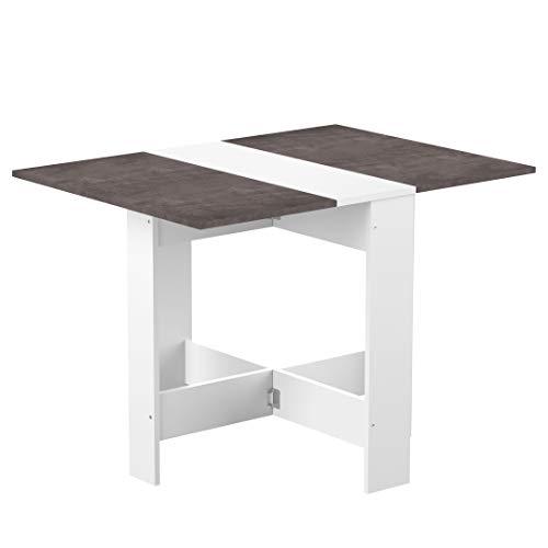 Mesa plegable contemporánea con 2 solapas plegables, tablero de partículas de melamina, color blanco y hormigón 103 x 76 x 73,4 cm, 2050A2198X00
