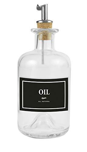 Lifestyle Lover Ölivenöl und Essig Spender, Apotheker Glasflasche mit Ausgießer aus Edelstahl für Öl & Essig (Oil Schwarz/Weiß, 350ml)
