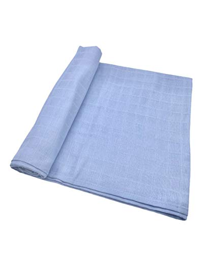 Cute New York Premium Cotton Muslin Swaddle Blankets for New Born Boys Girls Baby Blue