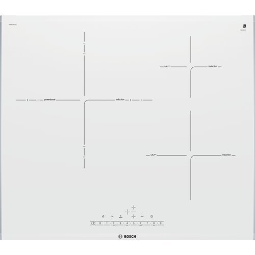 Bosch Serie 6 PID672FC1E - Placa de inducción, 60 cm, 17 niveles de potencia, 3 zonas de cocción, Control táctil, Color Blanco