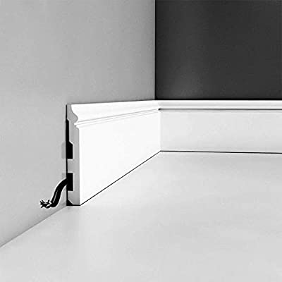 """Orac Decor SX118 High Impact Polystyrene Baseboard Moulding, Primed White. Length: 78"""", Height: 5-3/8"""""""