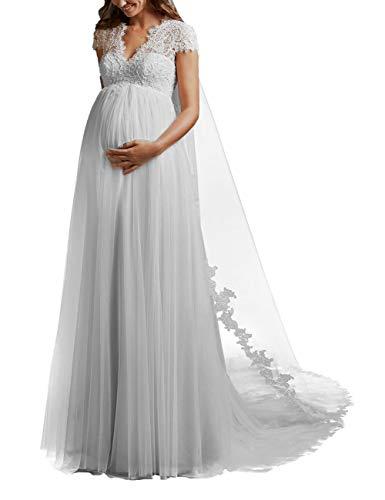 HUINI Brautkleider Hochzeitekleid für Schwangere Spitzen Prinzessin Brautmode Umstandebrautkleid Groß Größen Hochzeitskleid mit Schleppe Weiß 36