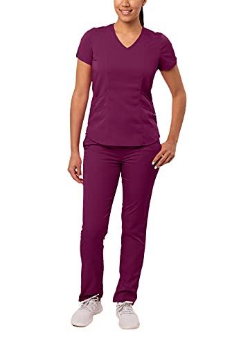 Adar PRO Uniforme Medico Donna - Top Moderno Scollo V & Pantaloni Yoga Adattati - P9100 - Wine - M