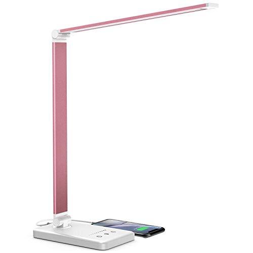 Lampe de Bureau LED, Jirvyuk LED Lampe de Table 5 Modes de Couleur et 10 Niveaux de Luminosité Ajustable Contrôle Tactile Protection des Yeux Lampe de Table (Rose)