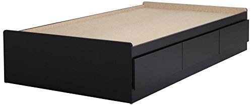 "South Shore Furniture 39"" Fusion Mates Bed with 3 Drawers, Twin, Pure Black"
