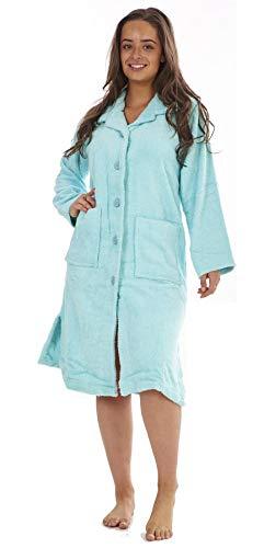 Keanu Damen Bademantel, 100 % reine Baumwolle, Frottee, mit Knöpfen oder Reißverschluss Gr. 44/46 DE, multi