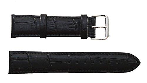 Condor Uhrarmband aus Alligator-Vollleder, hochwertig, robust, Schwarz, mit Schnalle aus Edelstahl (Gr. 24, 26, 28, 30mm) 30mm