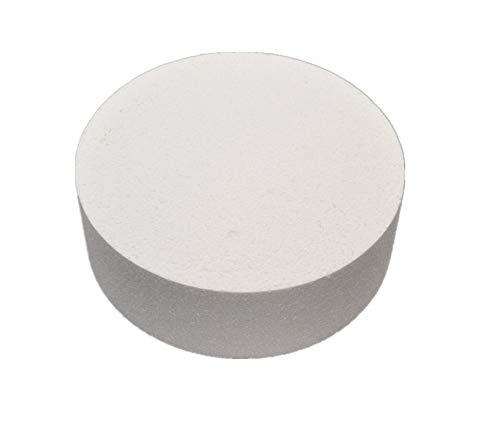 Gâteau factice rond en polystyrène pour entraînement à la pâtisserie, diamètre 10, 15 ou 20 cm, Blanc, Mousse, blanc, 20,4 cm
