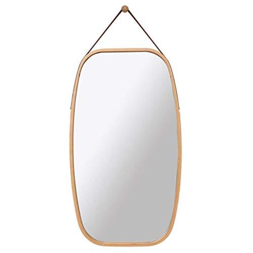 LZQBD Espejos, Espejos de Longitud Completa, Montado en la Pared Mirada de Cuerpo Completo Mirada de Espejo Colgante de Apretón Rectangular Miojo -Solid Frame Ajustable Correa de Cuero para la Decora