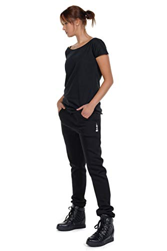 Jogginghose Damen locker lässig Freizeithose Frauen schwarz Boyfriend Baggy Style Hose Sporthose - Bubbles L
