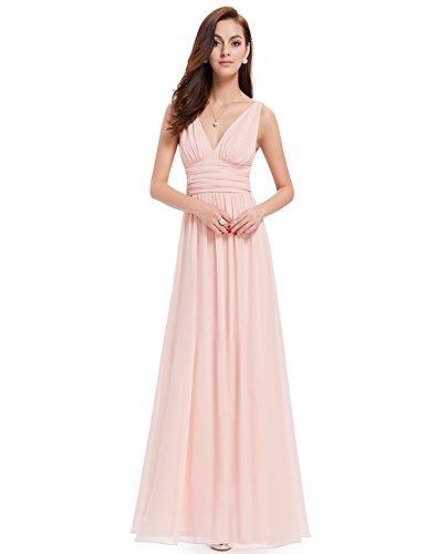 Ever-Pretty Womens Double V Neck Sleeveless Chiffon Bridesmaids Dress 6 US Pink (Apparel)