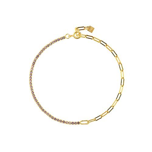 Pulsera de cadena de circón arcoíris de plata esterlina 925, joyería de moda para mujer, color punk de rock fino, regalo de color, pulsera púrpura de 18 cm
