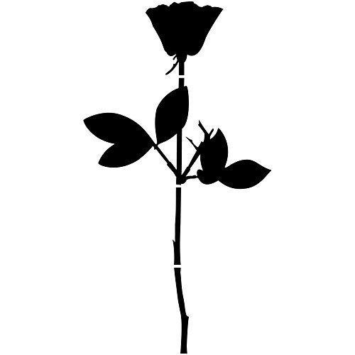GreenIT Rose Aufkleber Tattoo die Cut car Decal Auto Fenster Tür Schaufenster Deko Folie Enjoy The Silence Depeche Mode (schwarz 50cm)