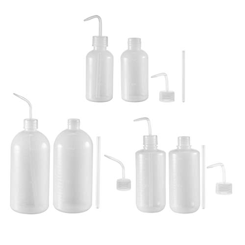 sourcing map 6Stk. Plastik Waschflasche Quetschflasche Labor Flüssigkeit Lagerung 250ml+500ml+1000ml