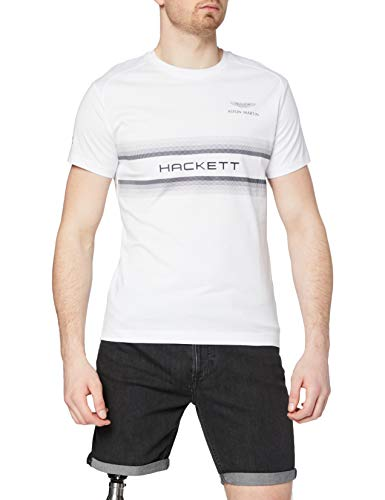 Hackett London AMR Hackett Print Camiseta, 800 Blanco, S para Hombre