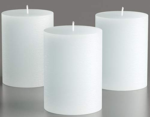 Melt Candle Co White Pillar Candles 3' x 4' Set of 3 Unscented for Weddings, Home Decoration, Relaxation, Church, Spa, Smokeless Cotton Wick