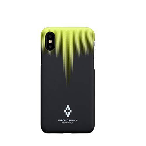 MARCELO BURLON COUNTY OF MILAN Cover/Custodia Compatibile con iPhone XS Max - Custodia Burlon Originale con Vetro temprato 9H - Rigida - Soft Touch e Antiurto - Protezione Frontale rialzata