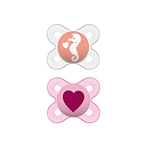 MAM Start S149 Schnuller für Neugeborene, Latex-Sauger, für Babys von 0 bis 2 Monaten, Rosa (2 Stück) mit selbststerilisierender Box, spanische Version