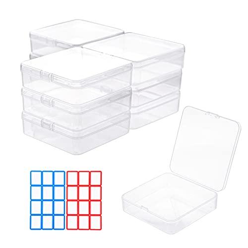 10 cajas de almacenamiento de 9.5cm con tapa, organizador de cajones de escritorio, cajas de almacenamiento para oficina,cocina, casa, contenedor para el sistema de organización, plástico tran
