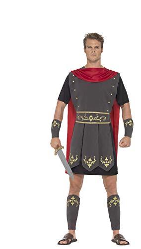 Smiffys Costume Gladiatore romano, Nero, con tunica, mantella attaccata, bracciali e sch