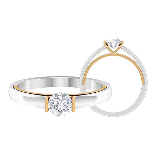 Anillo de compromiso vintage, anillo de diamante redondo HI-SI 1/2 CT, anillo de boda solitario, anillo de declaración, anillo de novia único, 14K Oro amarillo, Diamante, Size:EU 66