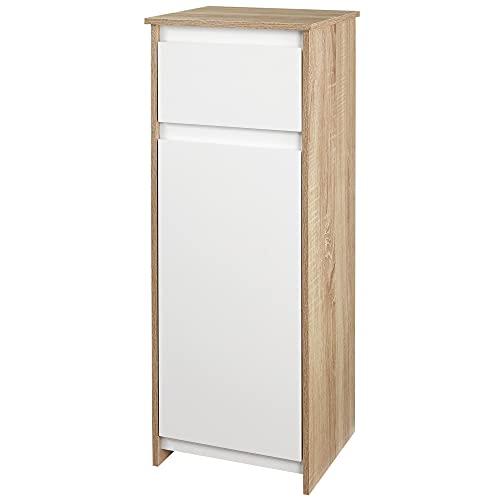 kleankin Armario Bajo para Baño Mueble Auxiliar de Madera con Cajón y Armario con 2 Estantes para Salón Dormitorio Cocina 32,6x30x90 cm Color Natural y Blanco