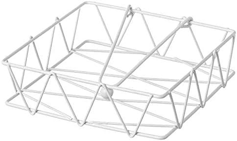Space Home - Servilletero Cuadrado con Peso - Portaservilletas de Metal - Soporte de Servilletas - Blanco