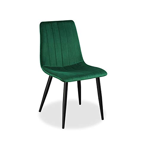 Farris Design Esszimmerstuhl mit Samtbezug, Schwarze Beine, gepolstert, weiches Kissen | Grün | 1 STK.