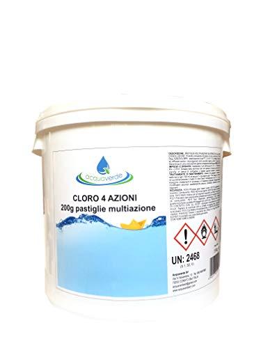 acquaverde Cloro 4 Azioni 200g Pastiglie Multiazione per Piscina Dicloro Alghicida Flocculante Stabilizzante PH (5 kg)