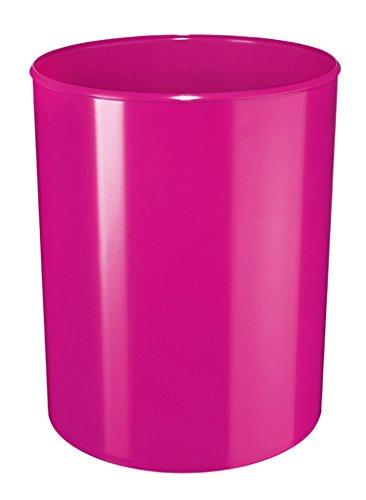 HAN 18132-96, corbeille à papier design i-Line, moderne au look stylé élégant de haute brillance. Qualité premium, 13 litres, ronde, New Colour rose