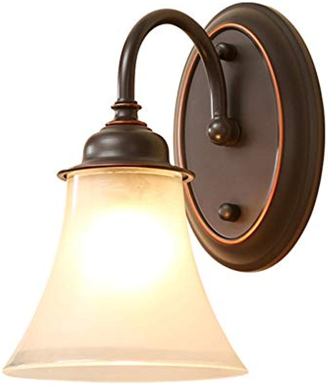 Amerikanische Retro Art Eisen Wand Lampen Schlafzimmer Bett Lampen Glas Lampen Abdeckungs Studie Wohnzimmer Wand einzelnes Kopf Wand Licht