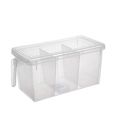 Cesta de plástico de 3 partes para nevera, frutas y verduras, para cocina, mesa de comedor, cesta de almacenamiento multiusos con tapa, nevera, cocina, alimentos y frutas