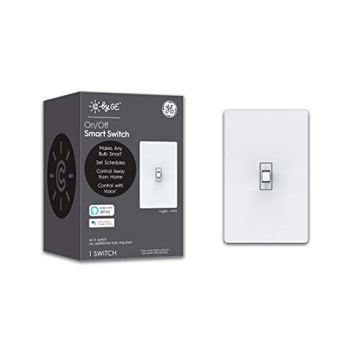 GE Lighting 93105376 C by GE On/Off Toggle Style Works with Alexa + Google Home Without Hub, Single-Pole/3-Way Replacement, White Smart Switch