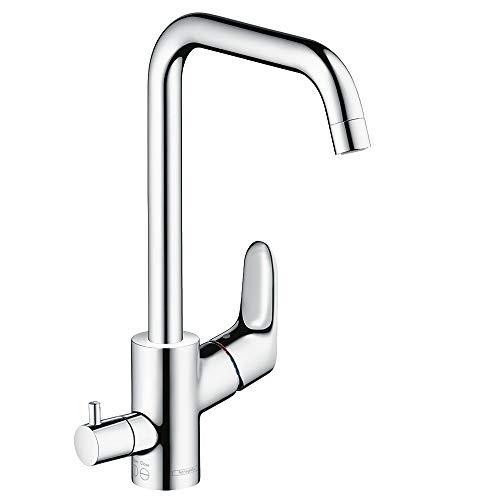 hansgrohe Focus Küchenarmatur (Wasserhahn Küche mit Geräteabstellventil, 110°, 150°, 360° schwenkbar, hoher Auslauf 260mm) Chrom