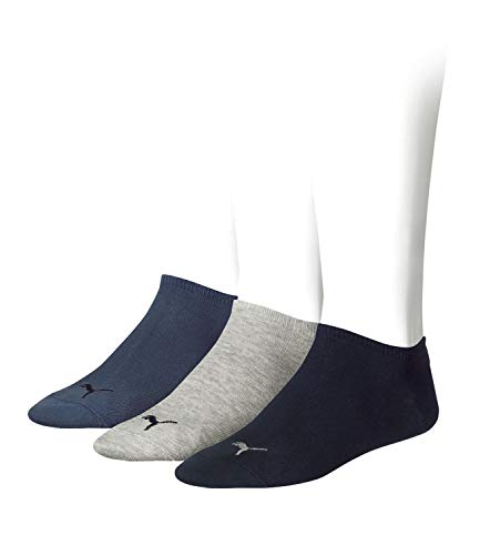 Puma unisex Sneaker Socken Kurzsocken Sportsocken 261080001 3 Paar, Farbe:Mehrfarbig, Menge:3 Paar (1 x 3er Pack), Größe:47-49, Artikel:-532 navy/grey/nightshadow blue