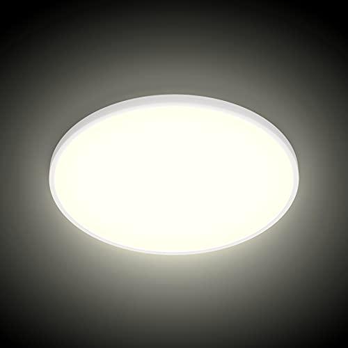 K-Bright Lámpara de Techo Moderna 28W Plafón Led Redonda Ultra Delgado Downlight Blanco Natural 4500K 2520LM adecuada para Cocina, Balcón, Dormitorio, Corredor, Ø30cm, No-Regulable