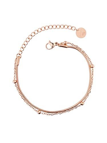a little something® Armband Yanaka | Damen Armkette mit 18 Karat Vergoldung (Gold & Roségold) | Inklusive nachhaltiger Geschenkverpackung mit FSC®-Zertifikat